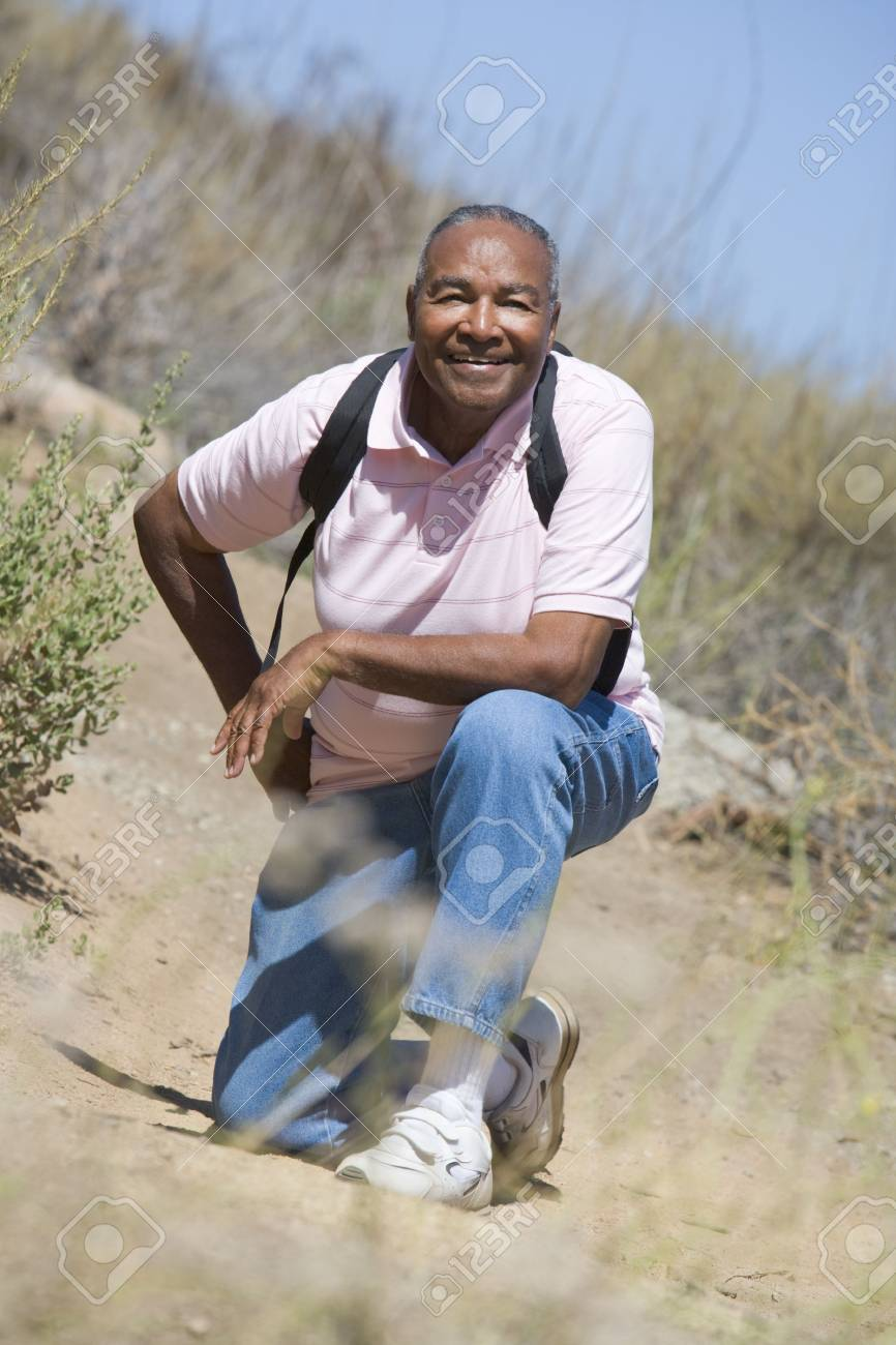 Senior man on a walking trail Stock Photo - 3177137