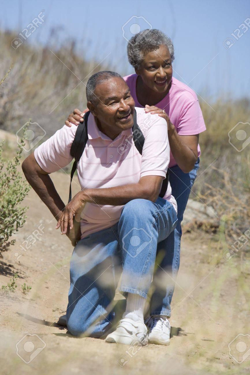 Senior couple on a walking trail Stock Photo - 3177519