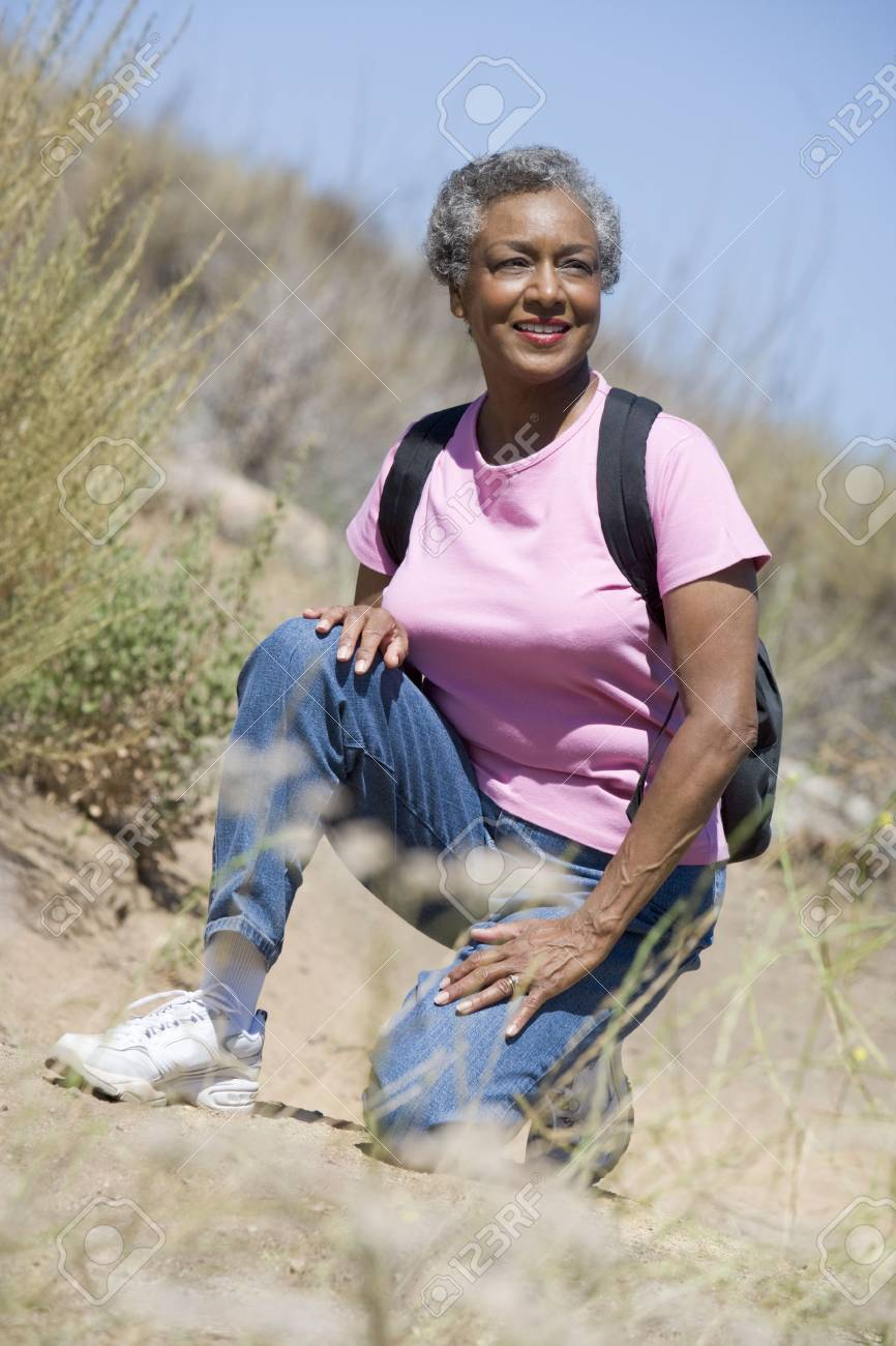 Senior woman on a walking trail Stock Photo - 3177209