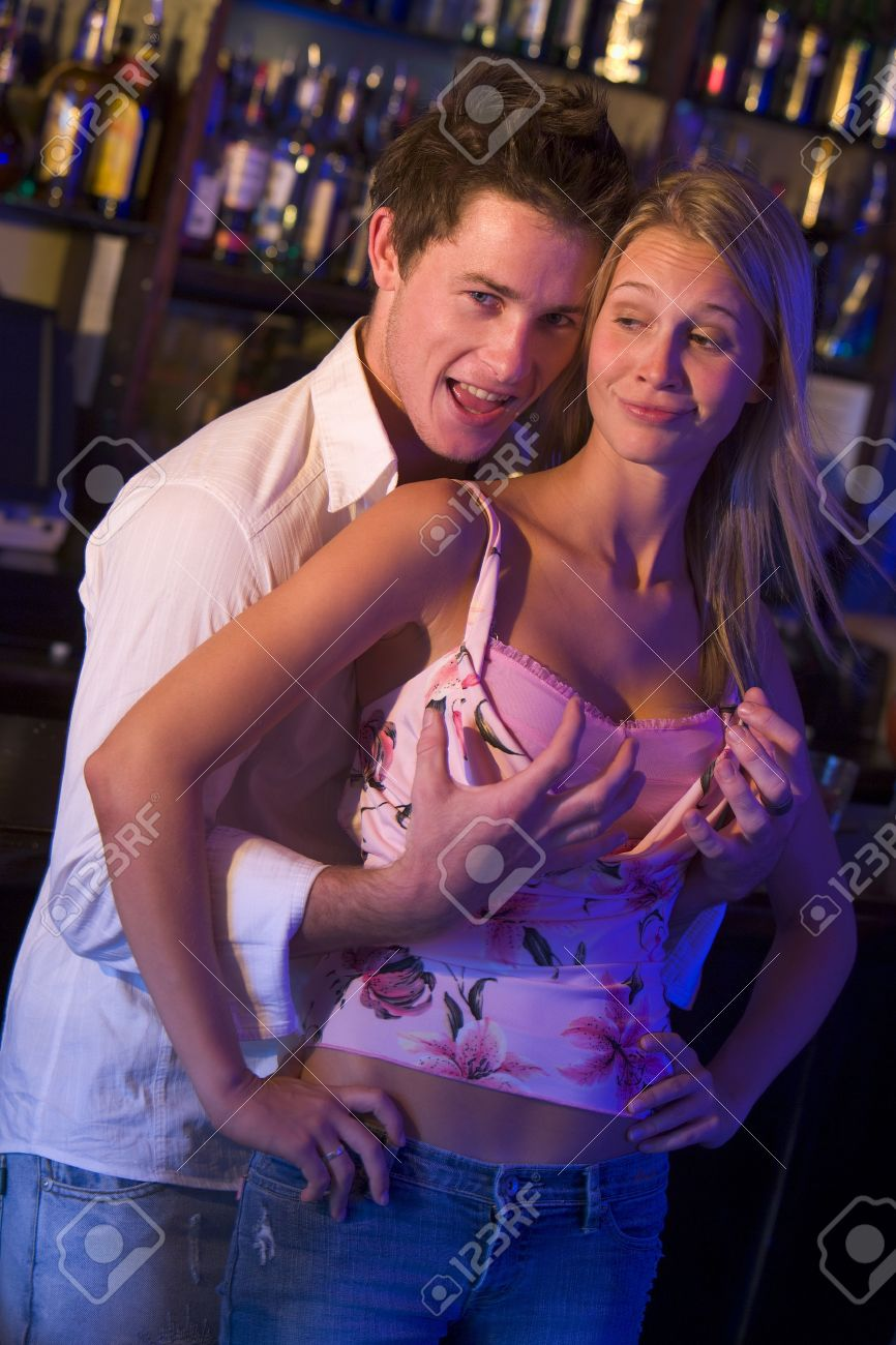 grope teen Flirting couple in a bar Stock Photo - 3206779