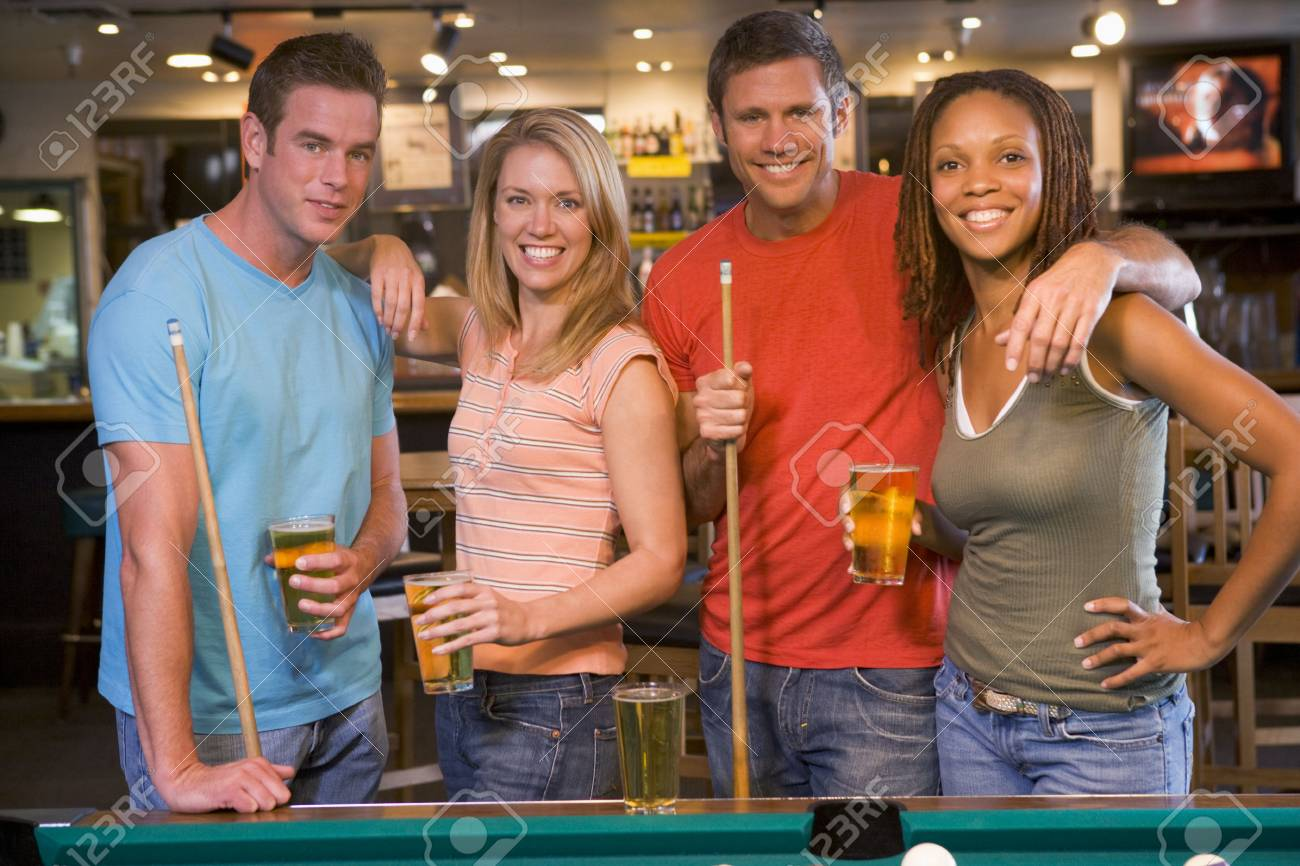 Friends at a pool hall Stock Photo - 3206777