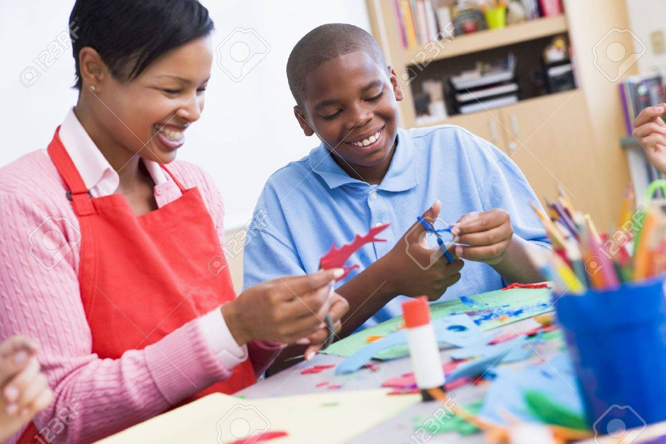 Teacher and student in art class (selective focus) Stock Photo - 3200658