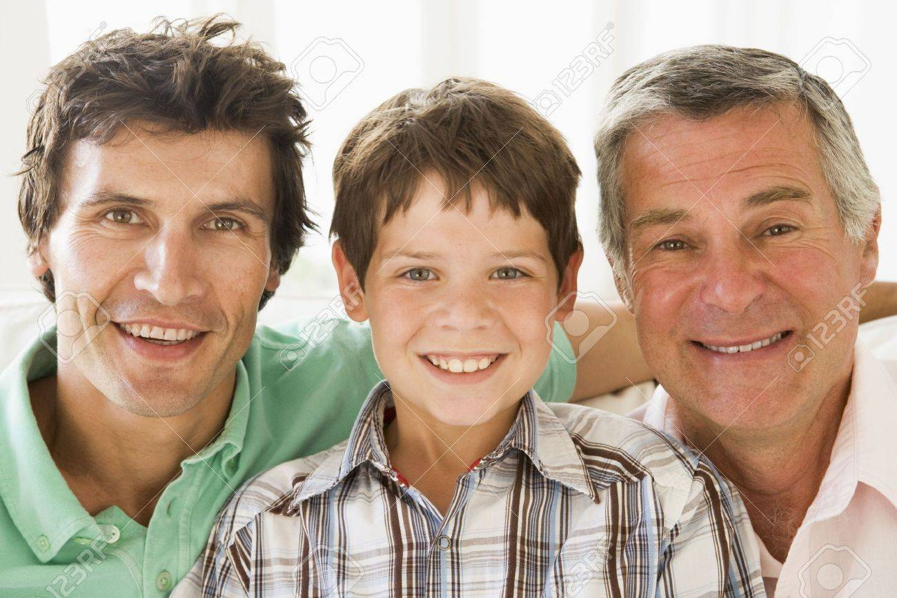 Grandfather with son and grandson smiling. Stock Photo - 3460490