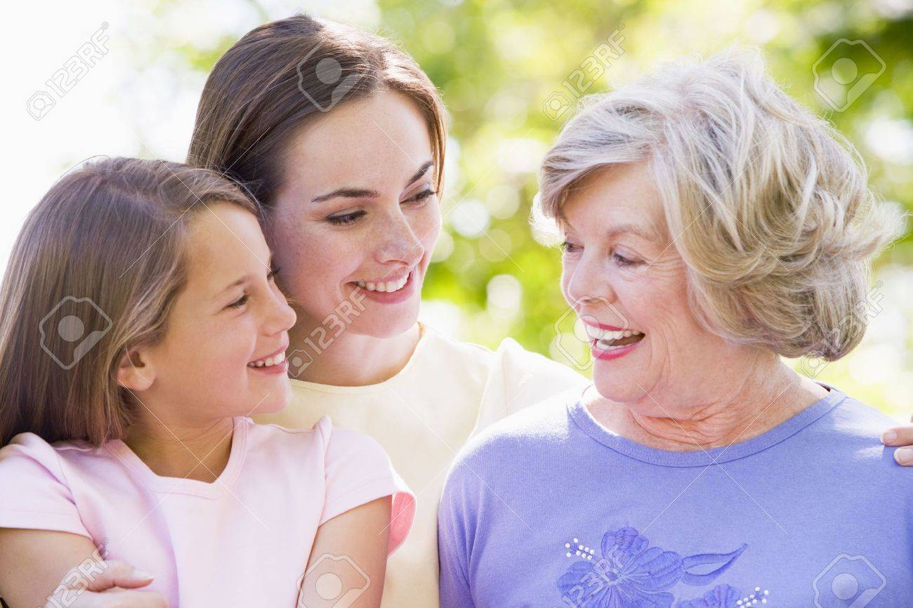 Grandmother with adult daughter and grandchild in park Stock Photo - 3460368