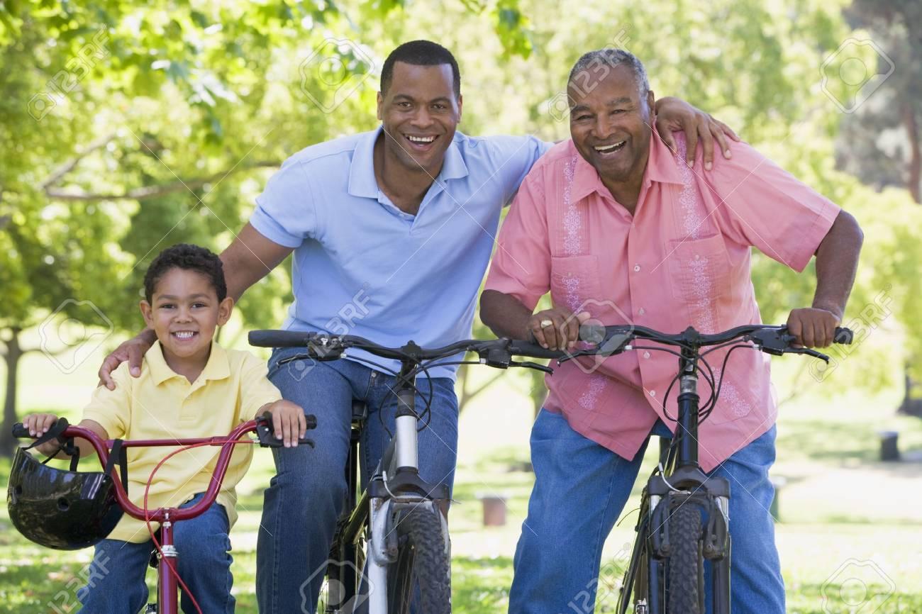 Grandfather grandson and son bike riding. Stock Photo - 3460410