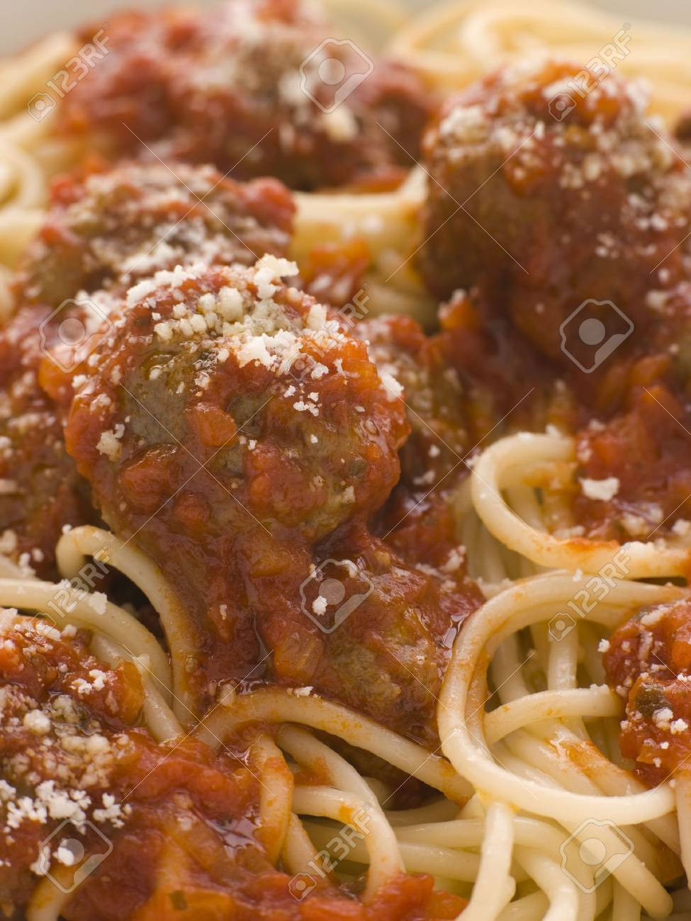 Spaghetti Meatballs sprinkled with Parmesan Cheese Stock Photo - 3438123