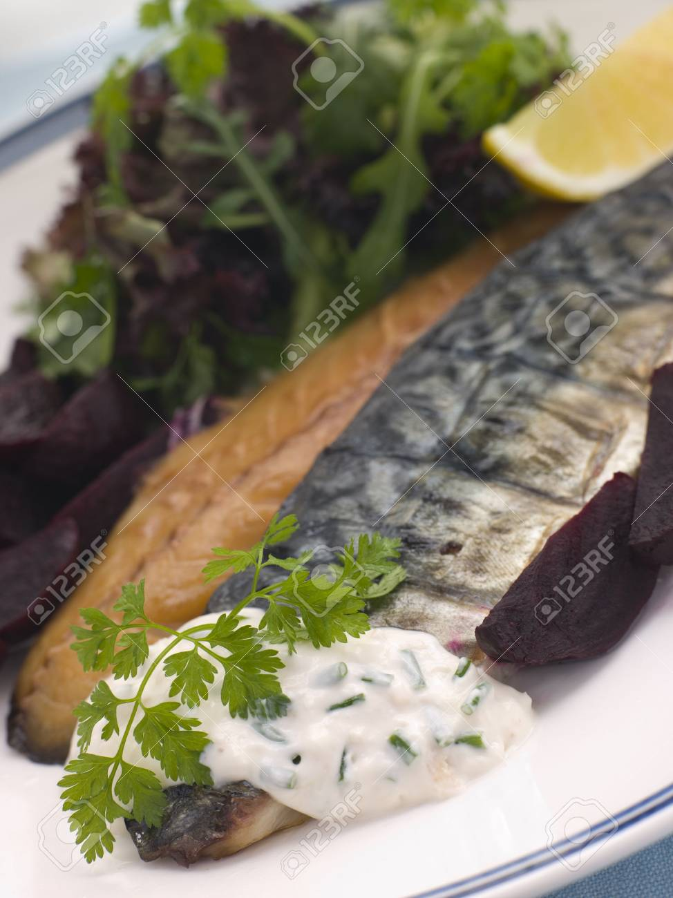 Smoked Mackerel Beetroot Salad with Horseradish Cream Stock Photo - 3444236