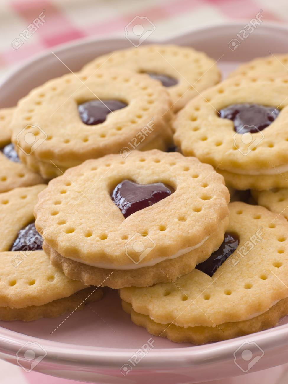 Jam and Cream Heart Biscuits Stock Photo - 3600144