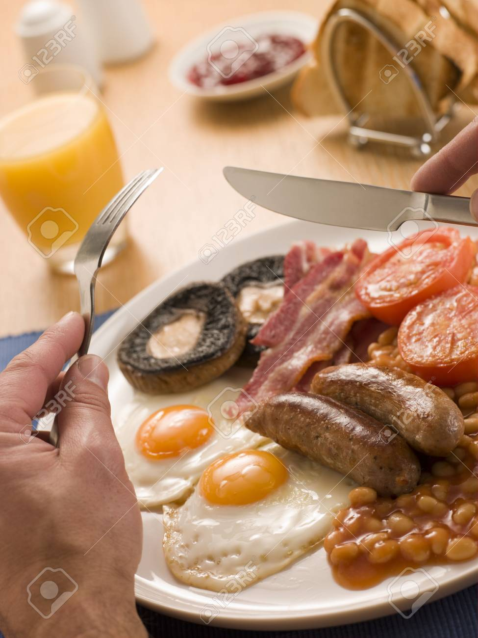 Eating a Full English Breakfast Stock Photo - 3476692