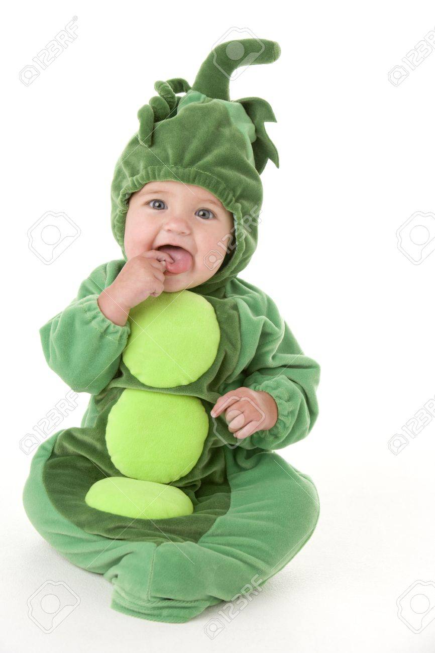 ceb50ae07eb6b Baby In Peas In Pod Costume Stock Photo, Picture And Royalty Free ...