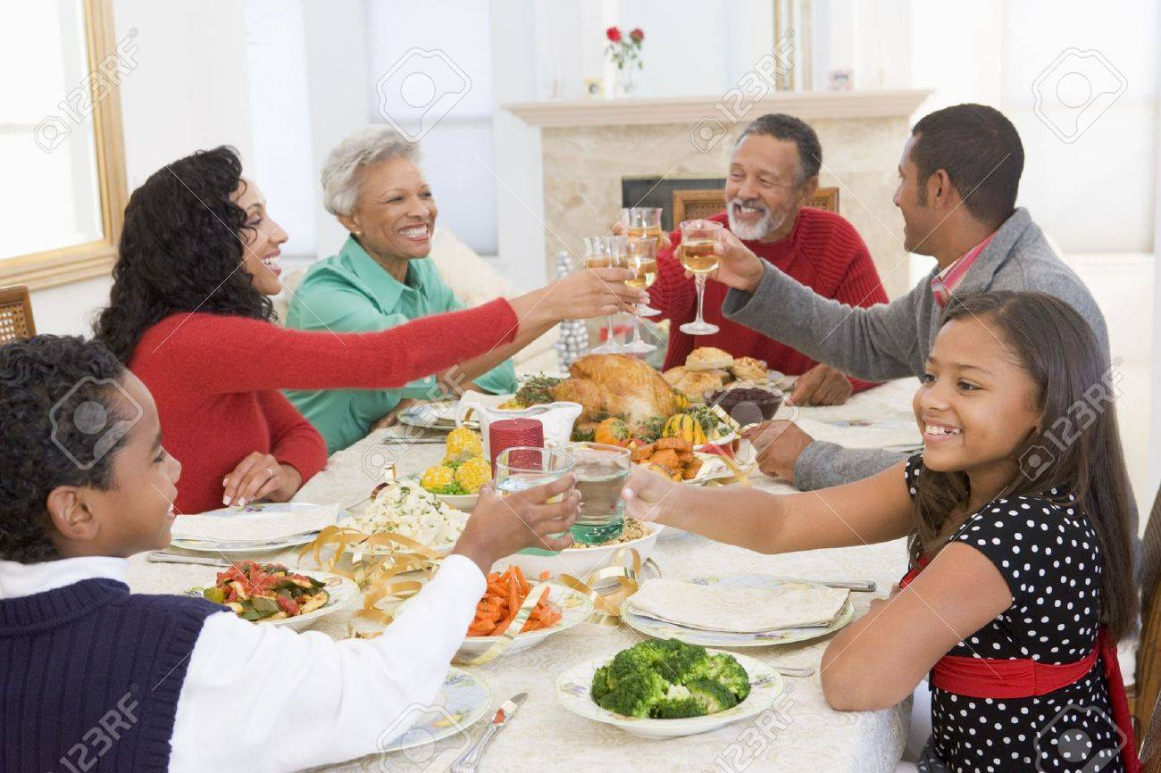 Family All Together At Christmas Dinner Stock Photo - 3724852