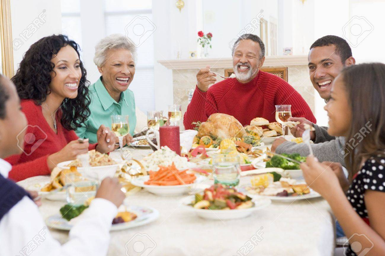 Family All Together At Christmas Dinner Stock Photo - 3724803