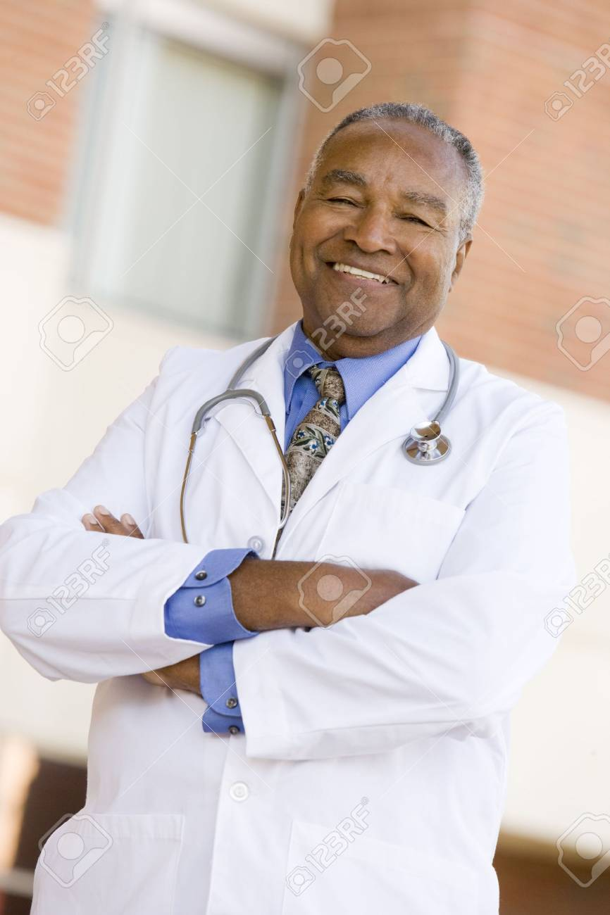 Doctor Standing Outside A Hospital Stock Photo - 3723680