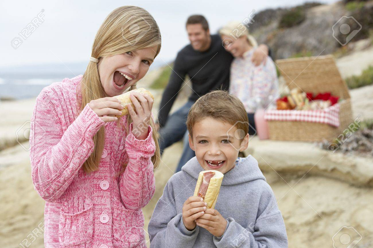 Family Dining Al Fresco At The Beach Stock Photo - 4499923