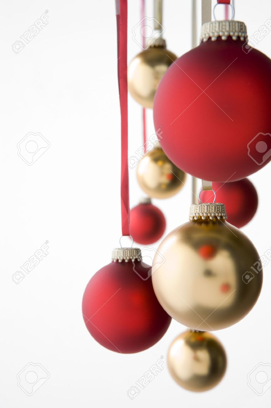 Group Of Red And Gold Christmas Decorations Stock Photo, Picture ...