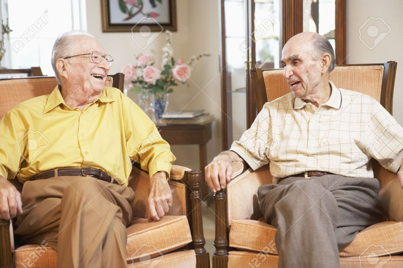 Senior men relaxing in armchairs Stock Photo - 4607628