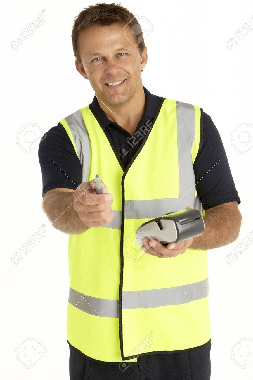 Courier Writing On An Electronic Clipboard, Smiling At The Camera Stock Photo - 4638854