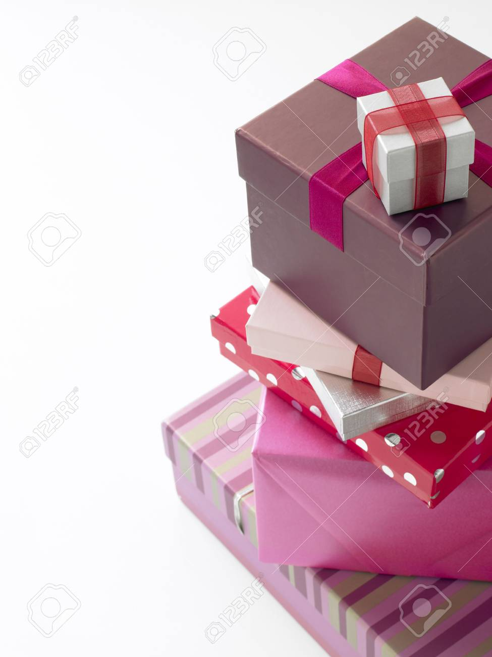 Stack Of Pink Wrapped Presents Stock Photo - 4638878