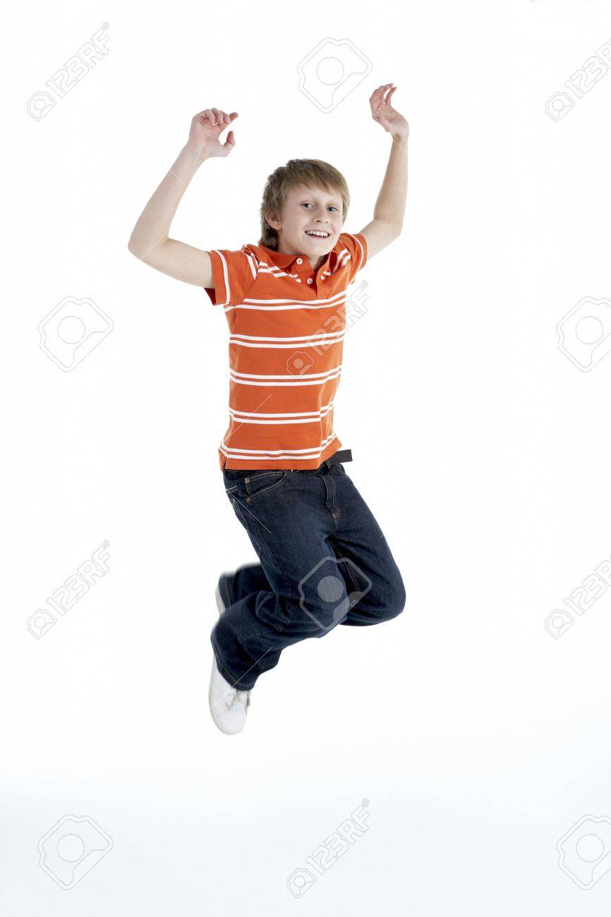 Young Boy Jumping In Air Stock Photo - 5515965