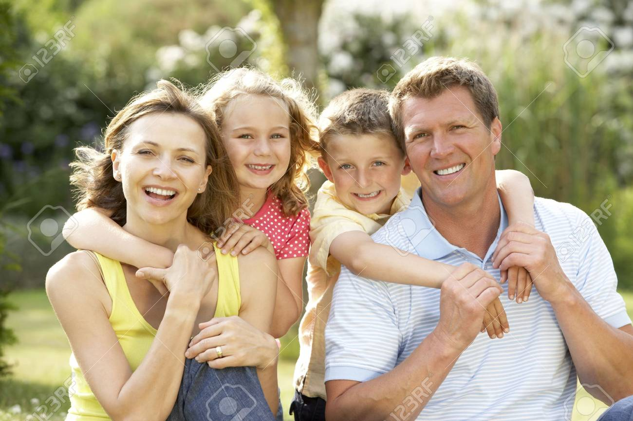 Family having fun in countryside Stock Photo - 5632704