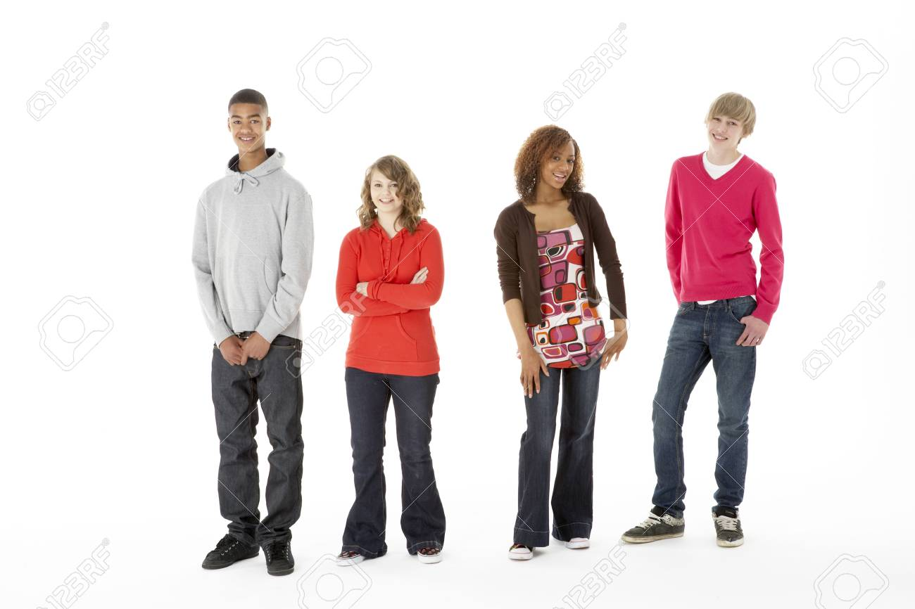 Group Of Four Teenagers In Studio Stock Photo - 6127533