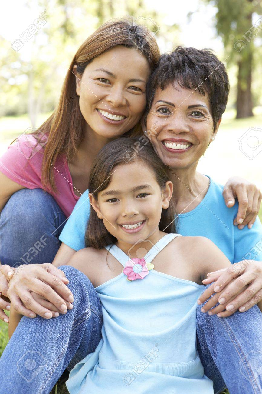 Grandmother With Daughter And Granddaughter In Park Stock Photo - 6456198