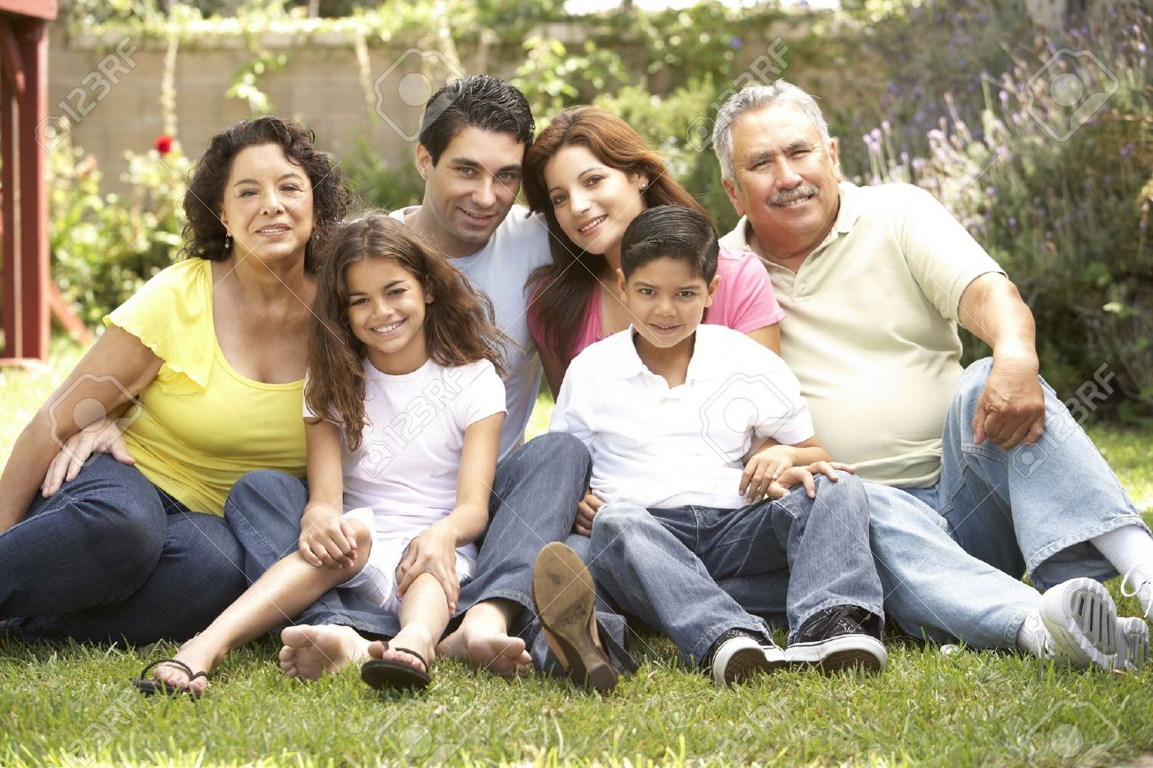 Portrait Of Extended Family Group In Park Stock Photo - 6456286