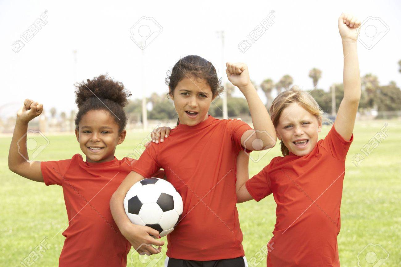 Young Boys And Girls In Football Team Stock Photo - 6453849