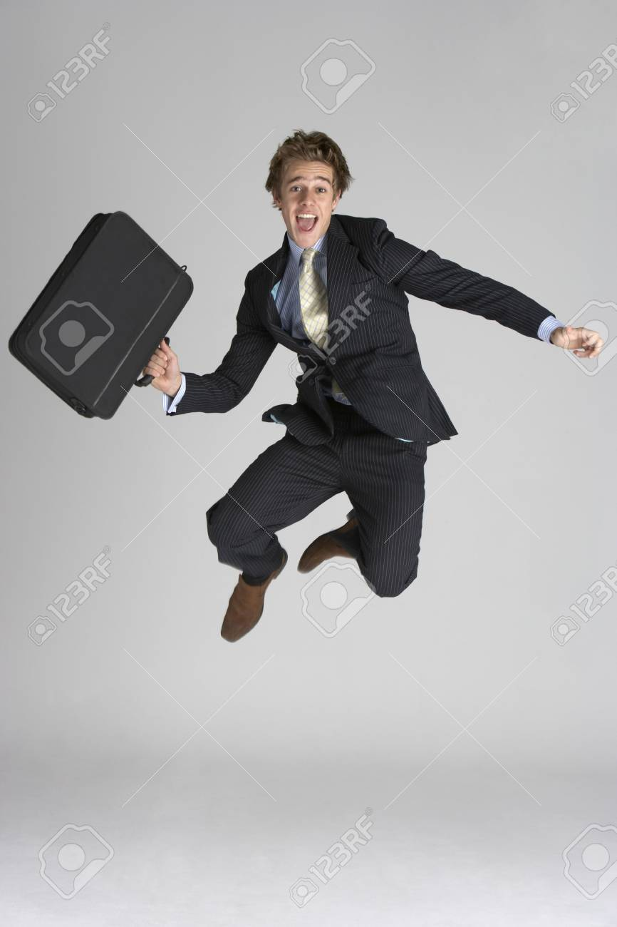 Businessman Jumping In Air Stock Photo - 6452600