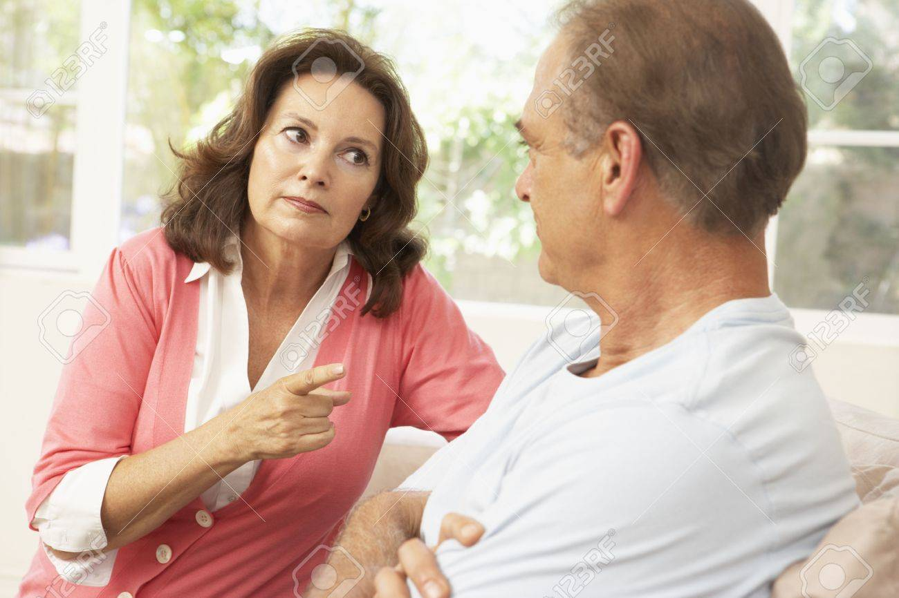 Senior Couple Having Arguement At Home Stock Photo - 6452632