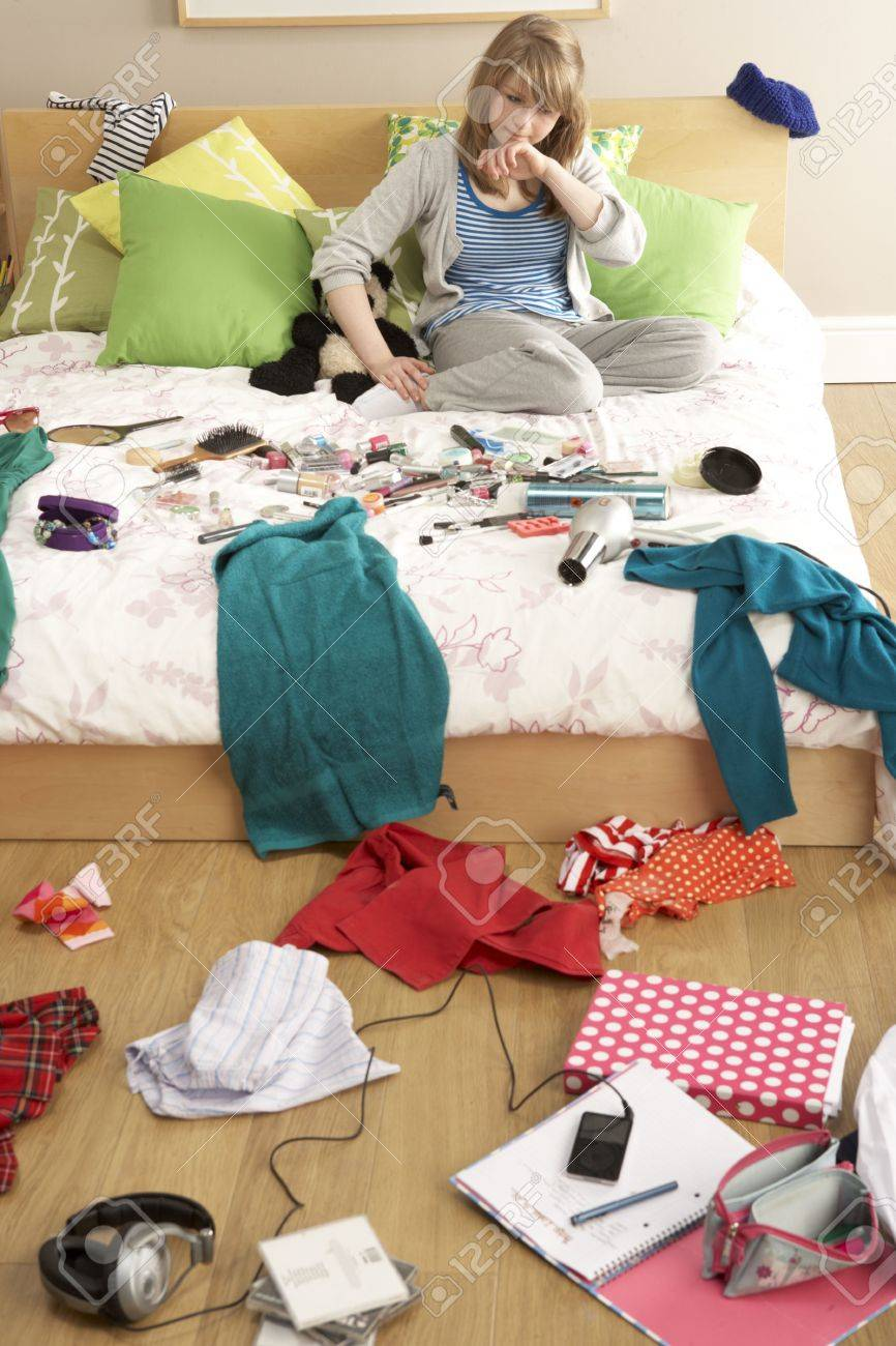 Messy Teenage Bedrooms Teenage Girl In Untidy Bedroom Stock Photo Picture And Royalty