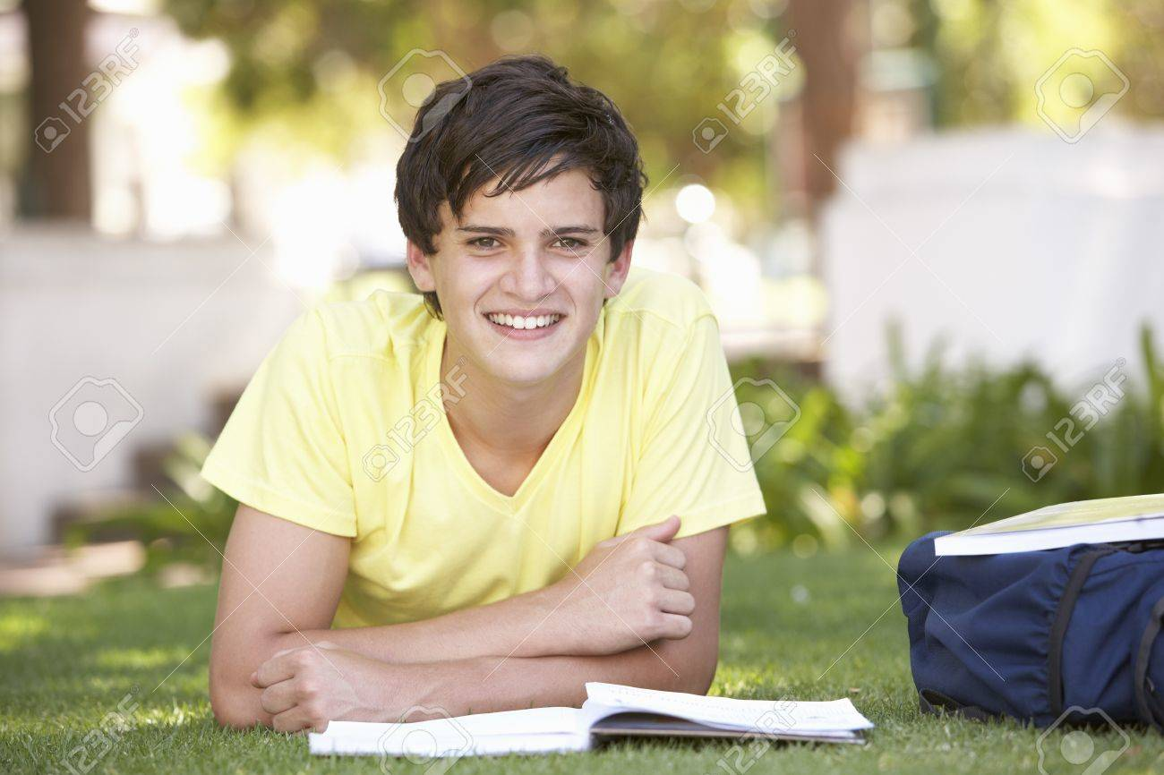 Male Teenage Student Studying In Park Stock Photo - 8108541