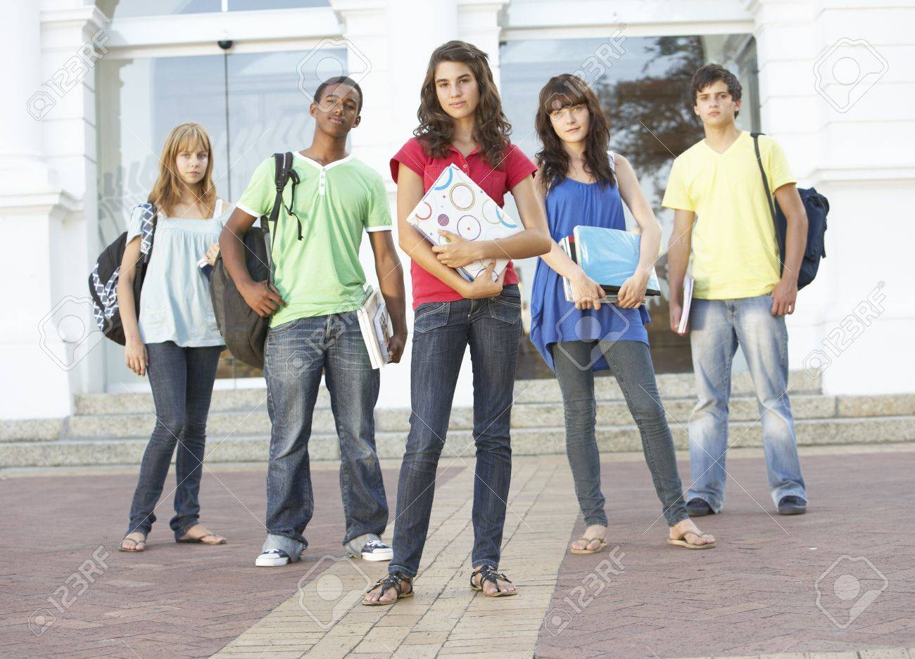 Group Of Teenage Students Standing Outside College Building Stock Photo - 8108632