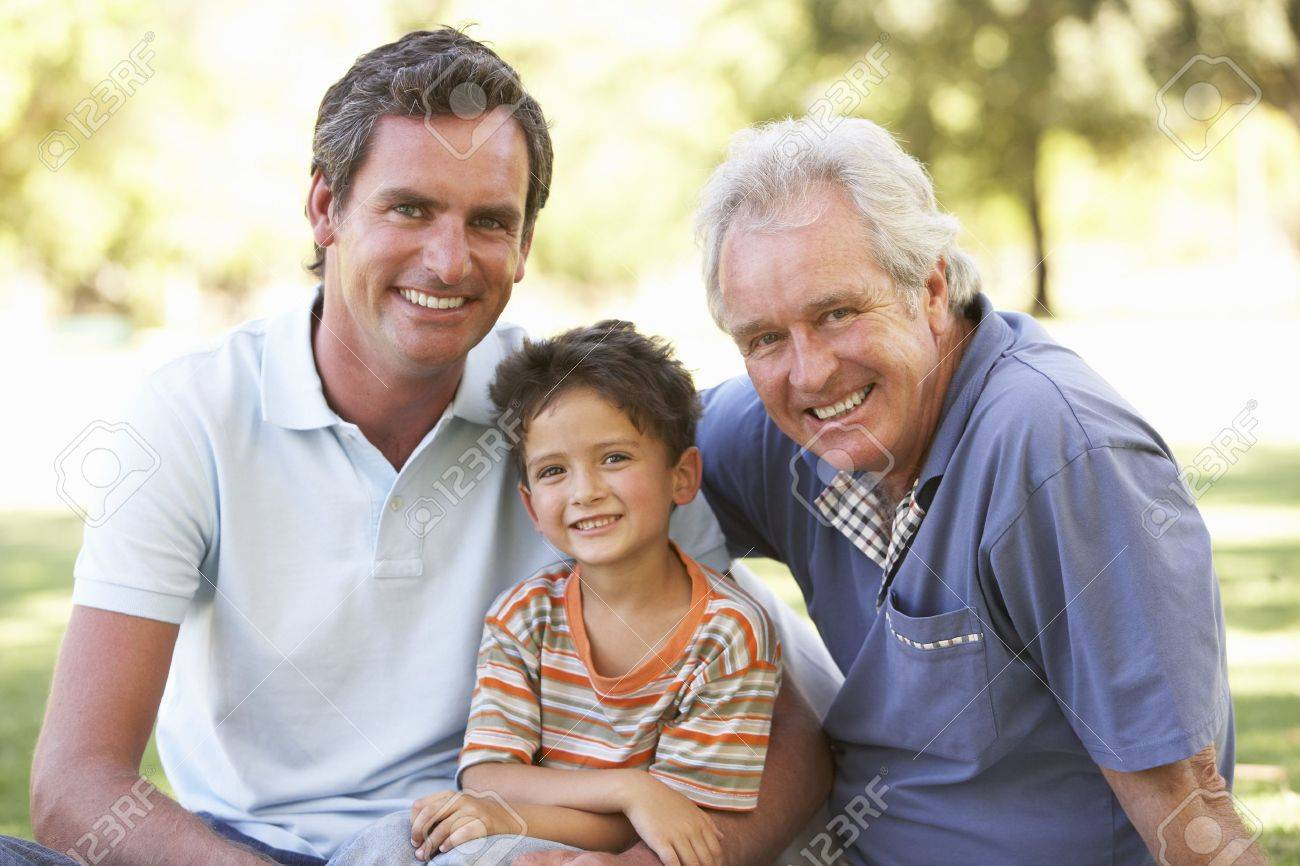 Grandfather With Father And Son In Park Stock Photo - 8108598