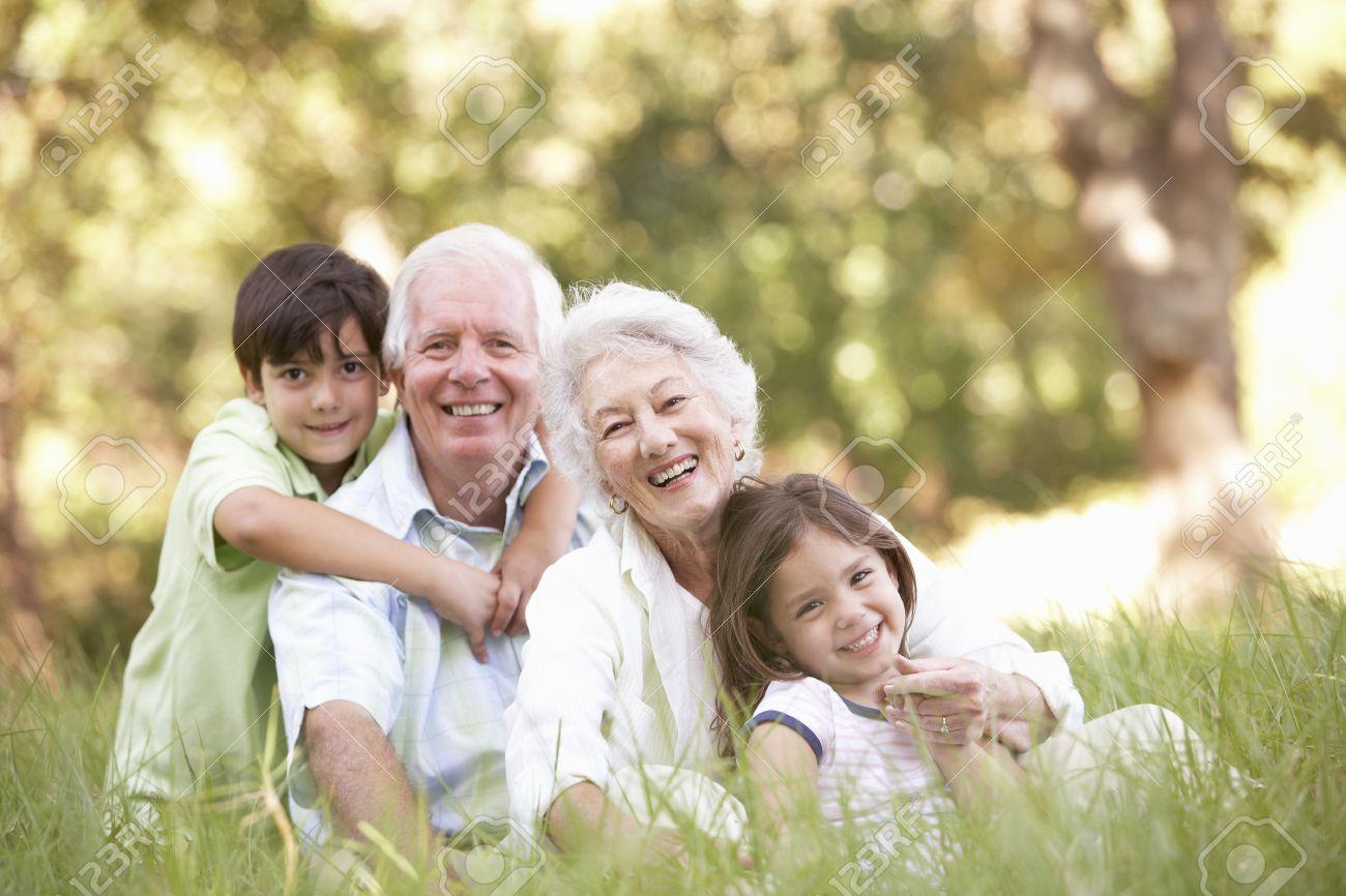 Grandparents In Park With Grandchildren Stock Photo - 8483213