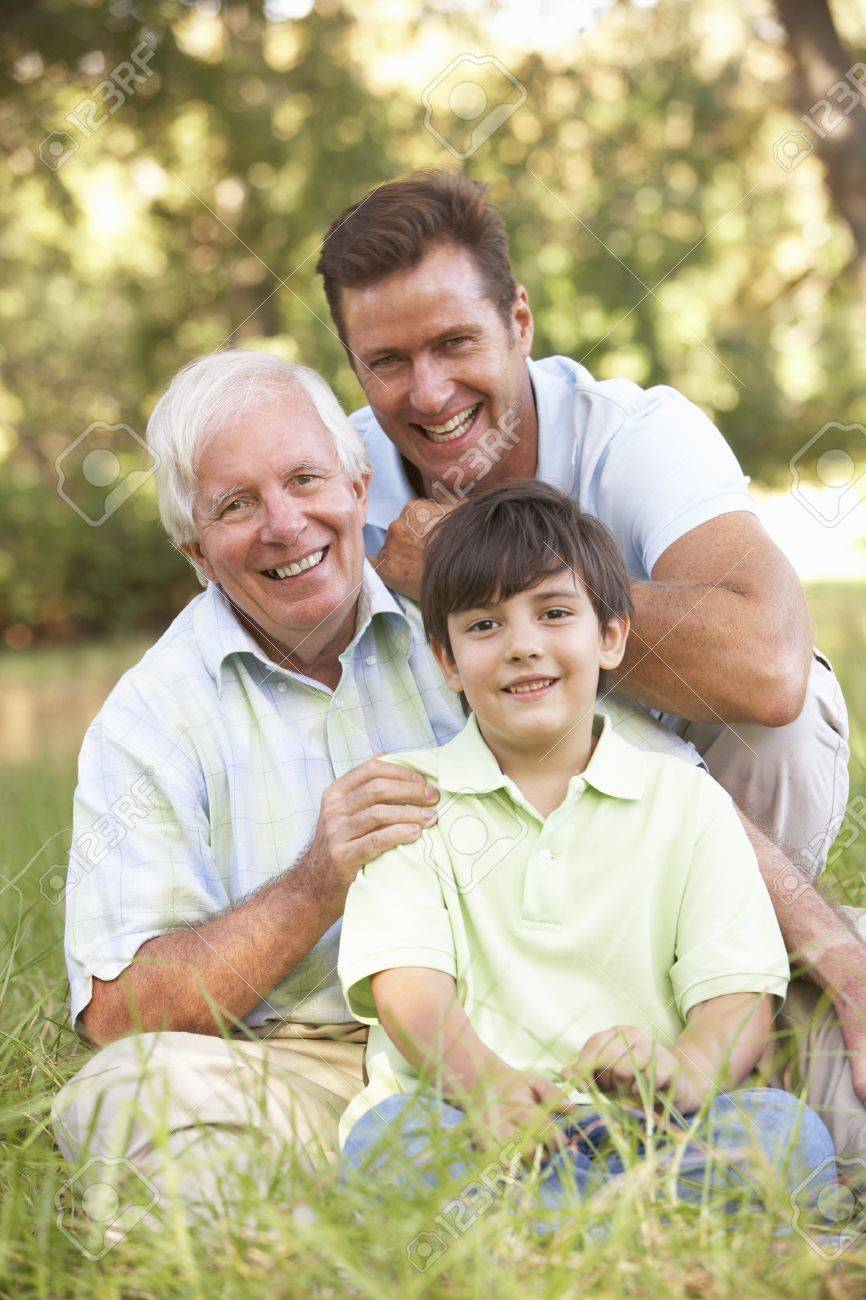 Grandfather With Son And Grandson In Park Stock Photo - 8483304