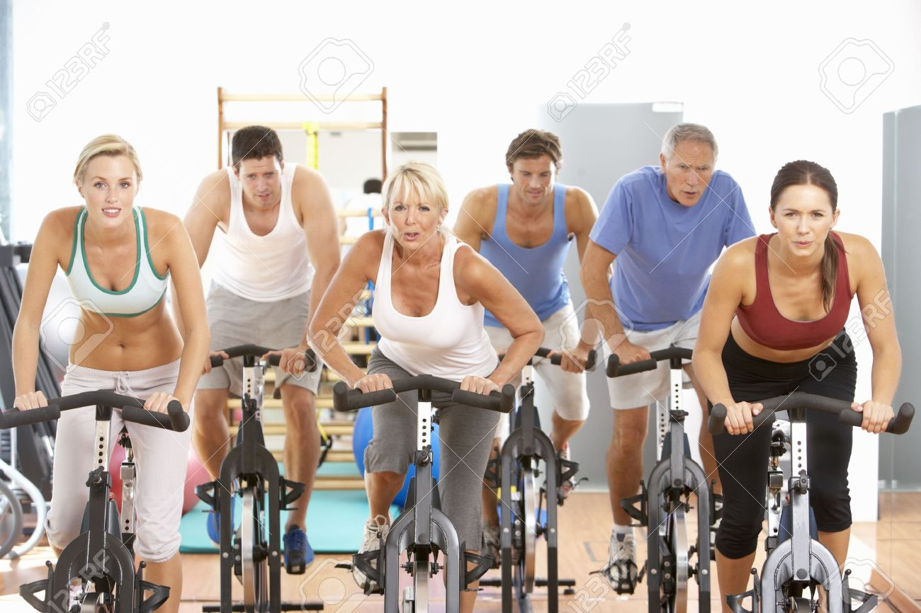 Group Of People In Spinning Class In Gym Stock Photo - 8503549