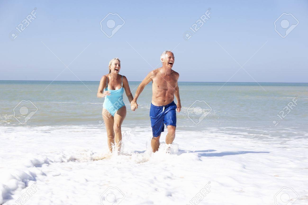 Senior couple on beach holiday Stock Photo - 9195266