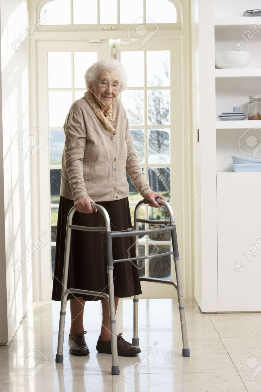 Elderly Using Elderly Senior Woman Using