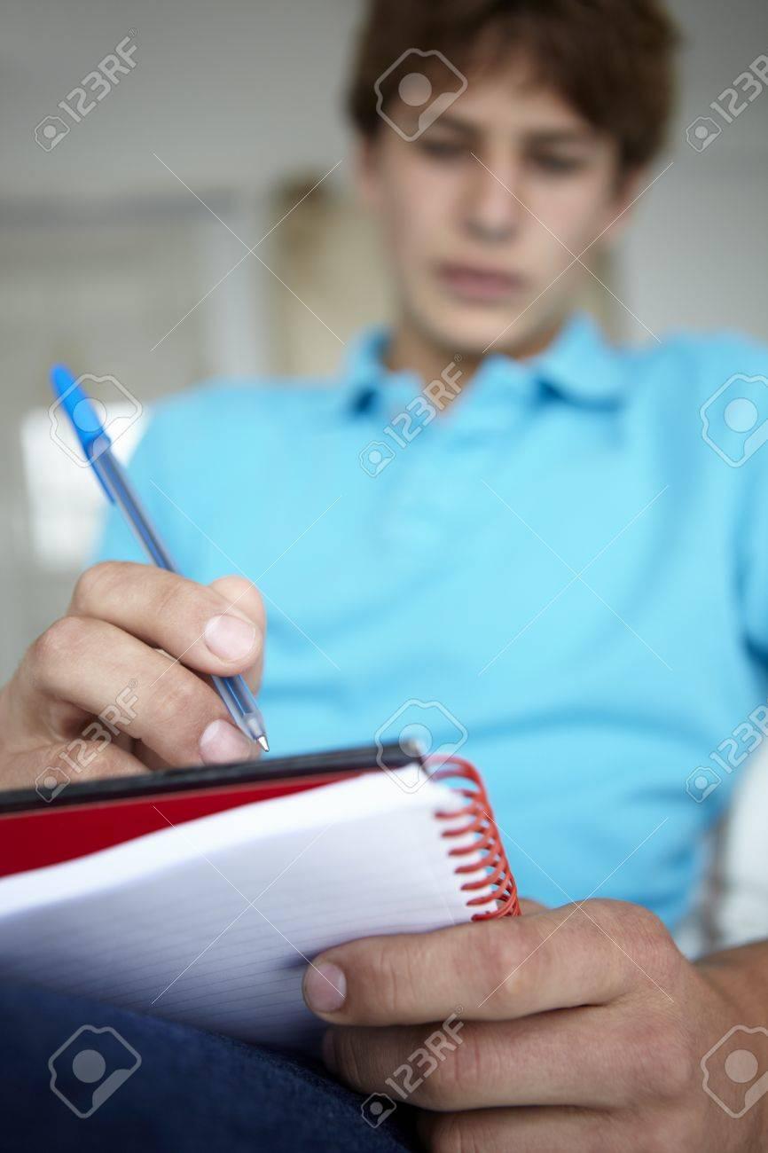 Teenage boy writing in notebook Stock Photo - 11190370