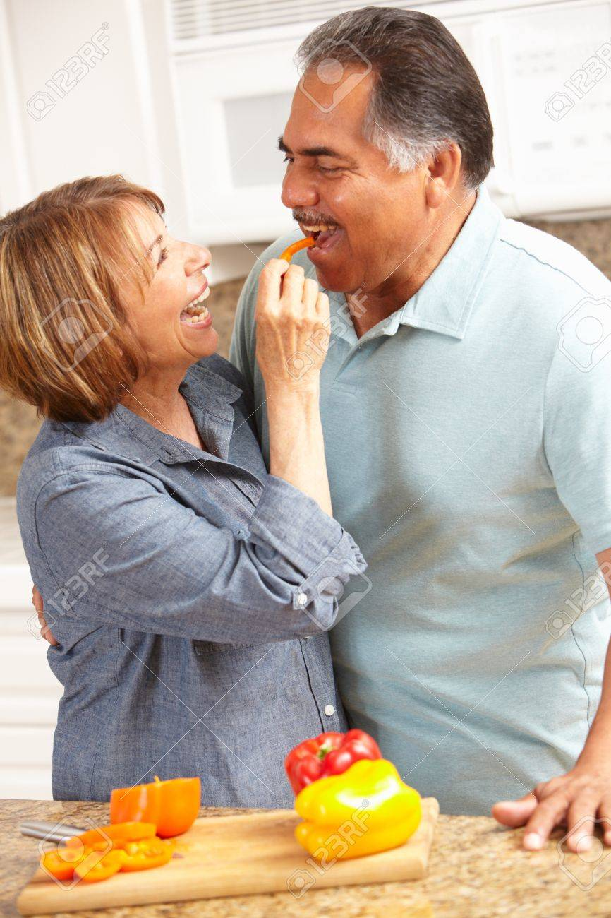 Senior couple cooking Stock Photo - 11217869