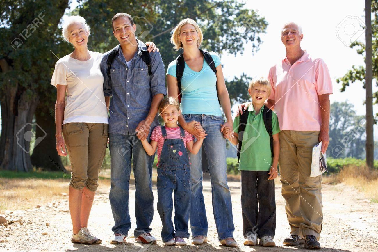 Three generation family on country walk Stock Photo - 11238994