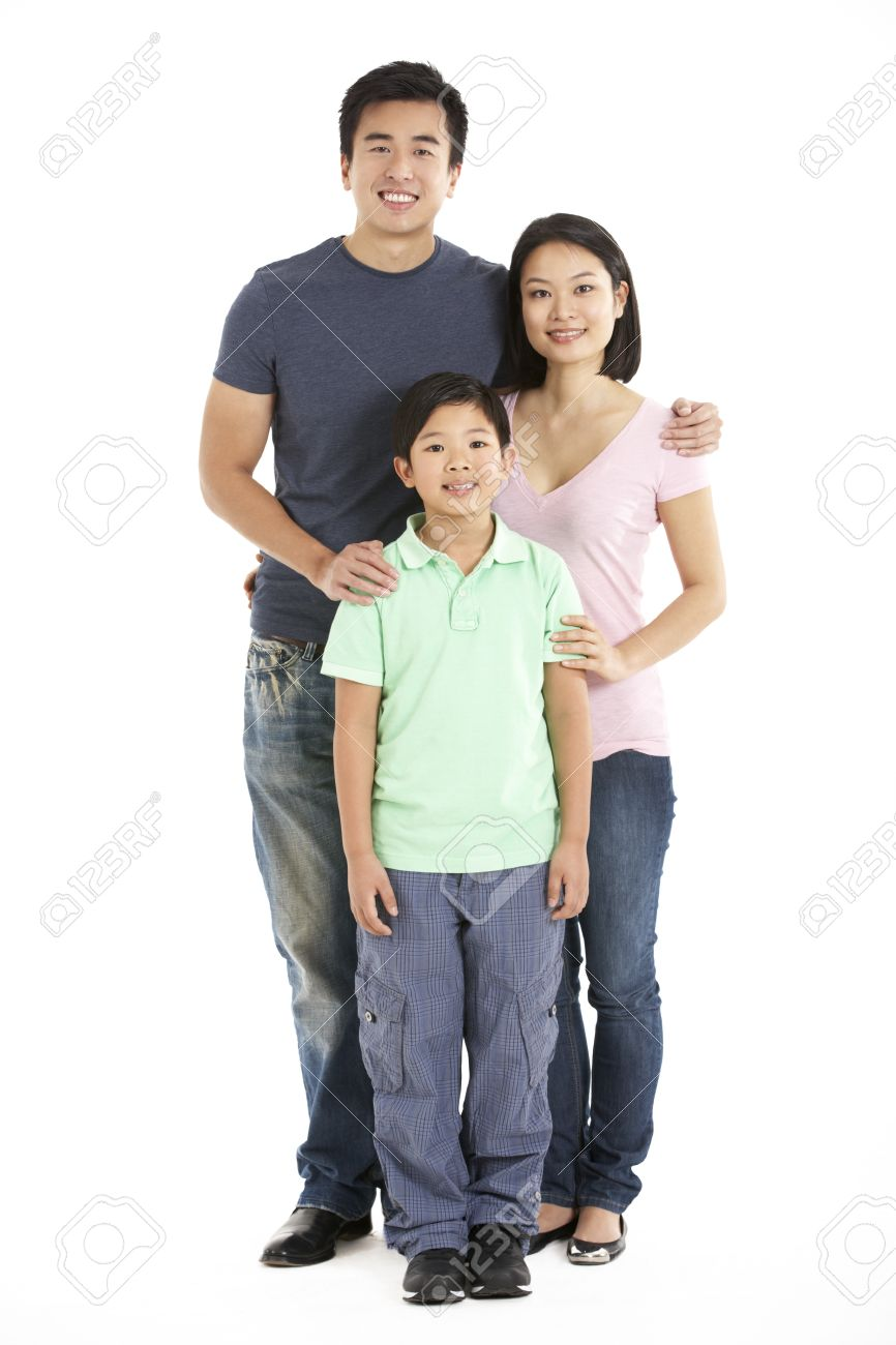 Full Length Studio Shot Of Chinese Family Stock Photo - 18709337