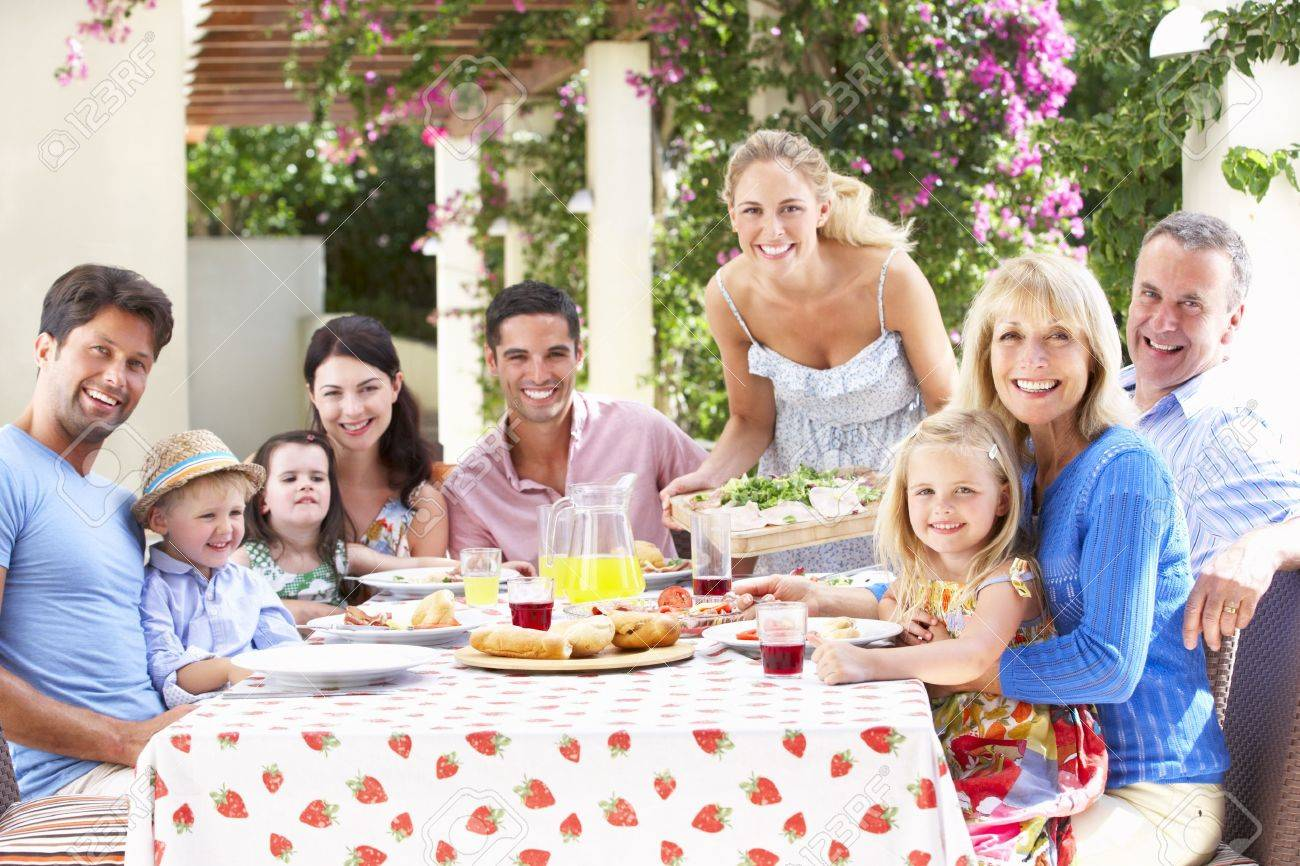 Portrait Of Multi Generation Family Meal Stock Photo - 18723003