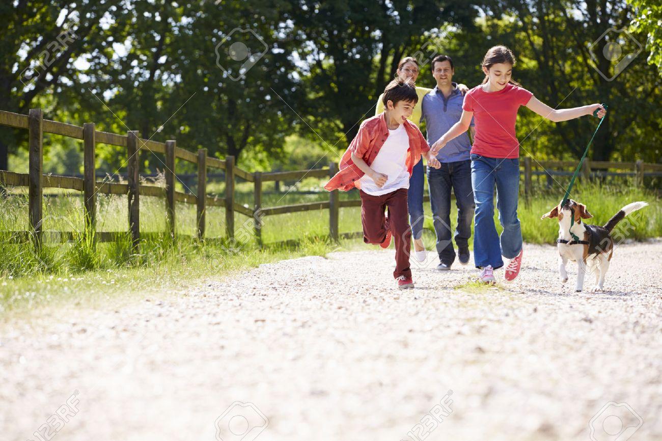 Hispanic Family Taking Dog For Walk In Countryside Stock Photo - 31014383