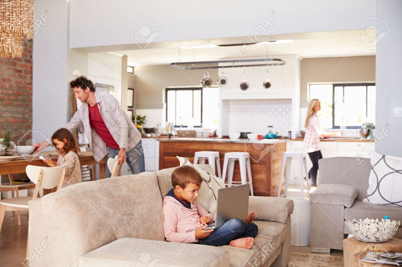 Family spending time together at home Stock Photo - 41393080
