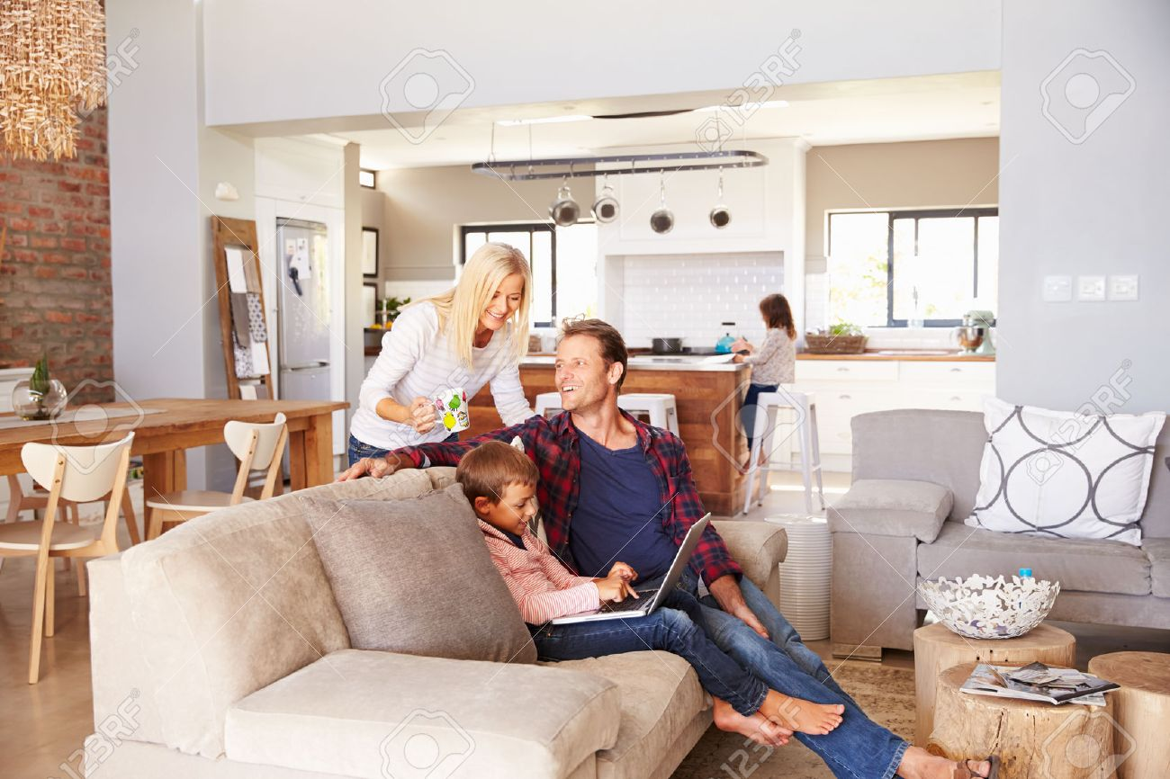 Family spending time together at home Stock Photo - 41402316
