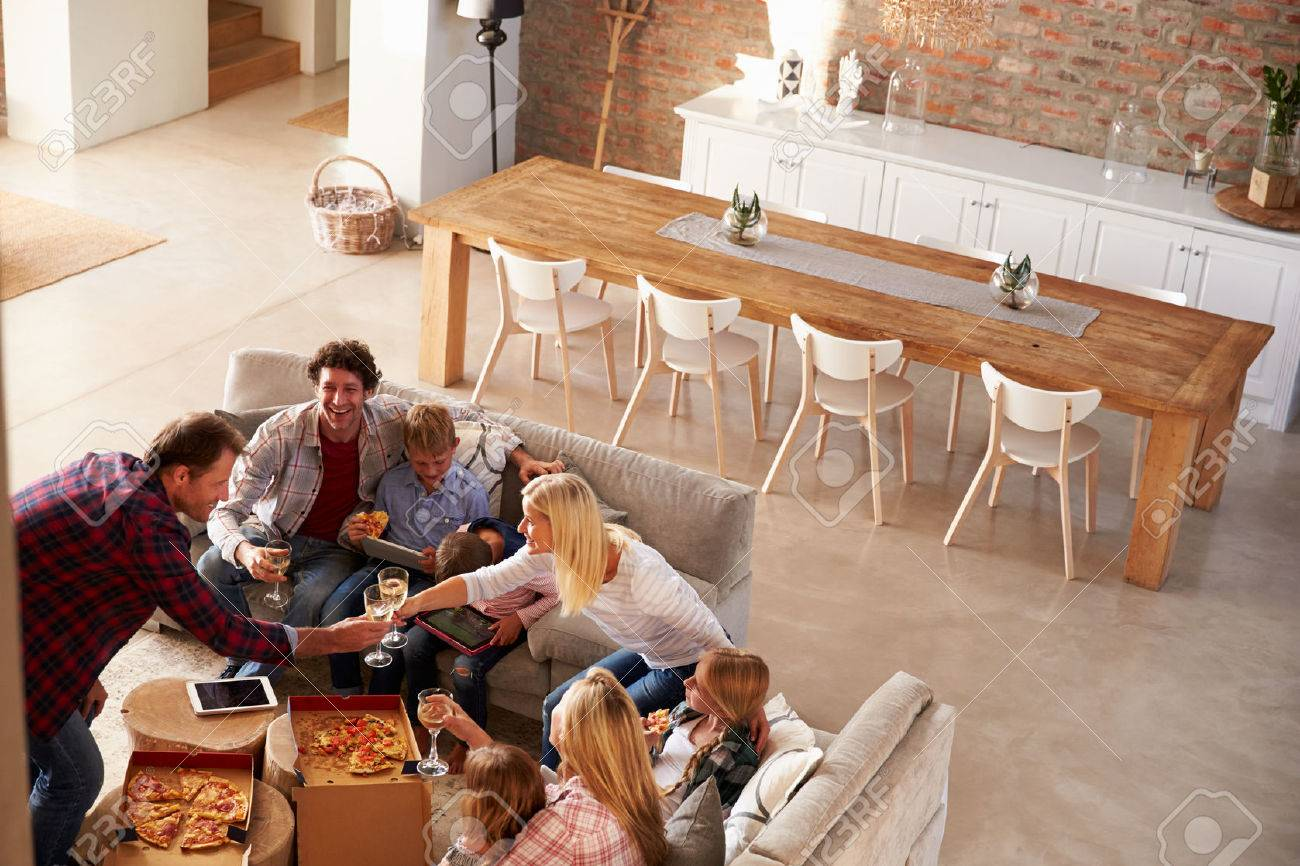Two families spending time together at home Stock Photo - 41402401