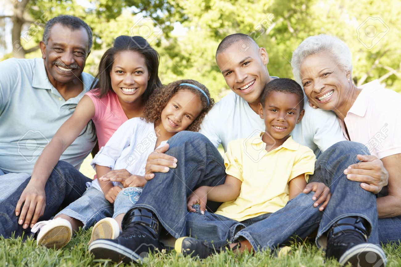 Multi Generation African American Family Relaxing In Park Stock Photo - 42118650