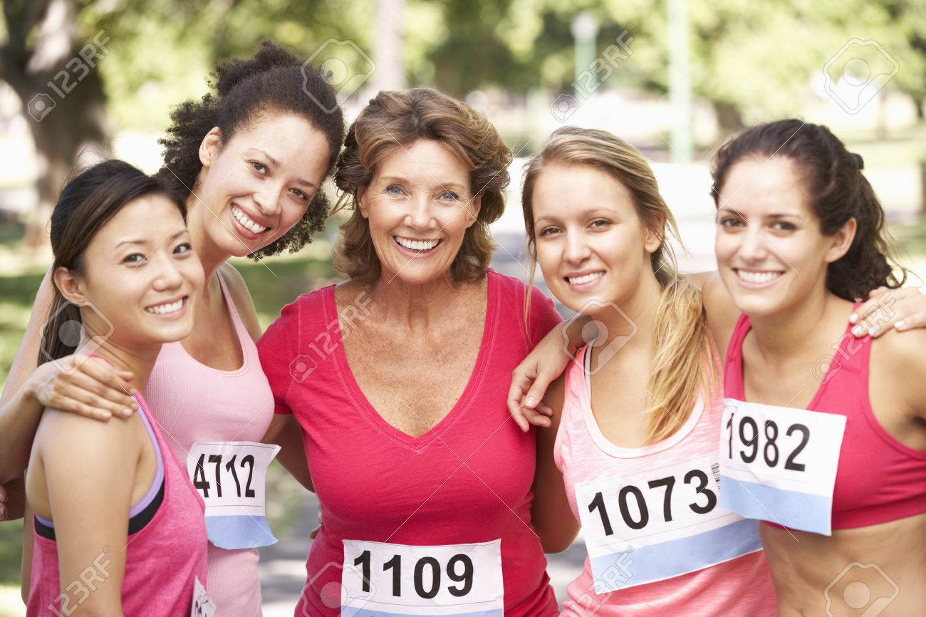 Group Of Female Athletes Competing In Charity Marathon Race - 42248319
